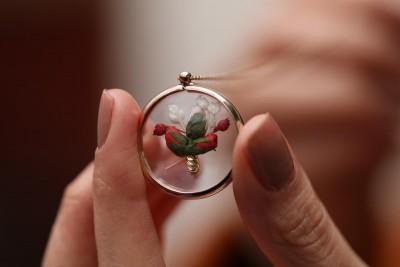 Kurutulmuş Çiçek Kolye - Thumbnail